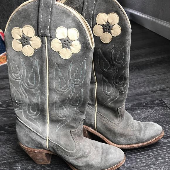 110bfca804b Acme Vintage Grey Suede Cowboy Western Boots 5.5